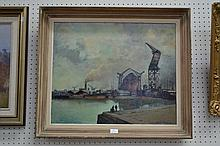 French oil on board harbour scene, signed lower right, Jean Beaudoin, approx 53cm x 64cm