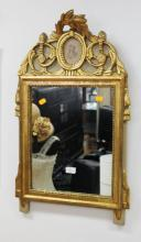 Antique French Louis XVI style mirror, giltwood and painted reserves, with central oval portrait miniature of a young lady, approx 76cm H x 47cm W