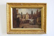 Antique European School (Flemish), oil on board street scene, approx 20cm x 28cm