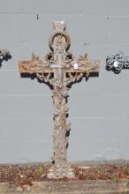 Antique French iron cross, approx 122cm H