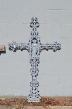 Antique French iron cross, approx 135cm H