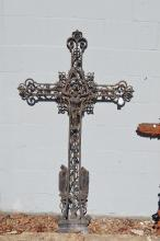 Antique French iron cross, approx 159cm H