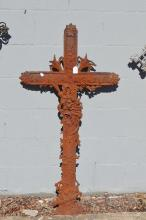 Antique French iron cross, approx 120cm H