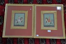 Two finely painted Indian miniatures of a Princess & Prince on horseback, approx 25cm x 20cm each (2)