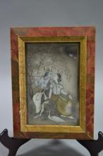 Fine Indian Mogul miniature painted on marble, Love Scene, approx 14cm H x 9cm W
