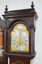 Antique English long case clock, with an important Thomas Ogden Halifax movement circa 1750, possibly later oak case, has key (in office), pendulum and weights, approx 220cm H