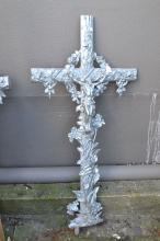 Large Antique French cast iron cross, approx 120cm H