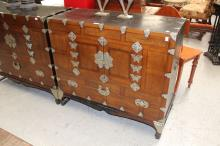 Korean chest with metal mounts on stand, approx 81cm H x 84cm W x 40cm D