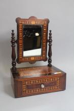 Antique inlaid French single drawer dressing table mirror, with turned supports. Approx 47cm H x 31cm W x 21cm D.