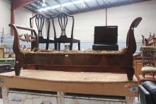 Antique Biedermeier settee frame, approx 184cm L