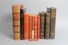 Lot of antique and vintage French books, red & black covered