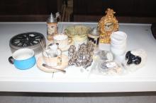 Lot to include glassware, porcelain, fragments of antique pot lids etc (2 boxes)
