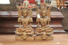 Pair of carved wooden Thai statues, approx 41cm H (2)