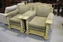 Painted vintage barley twist three piece lounge suite (3)