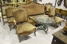 Antique French Louis style carved walnut suite to include chairs and settee (5)