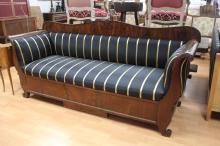 Antique Swedish Mahogany Biedermeier sofa. Re upholstered in black and gold silk ex Gamla Lan Sydney, approx 240cm L
