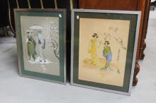 Two Oriental pictures, each approx 52cm x 38cm (2)