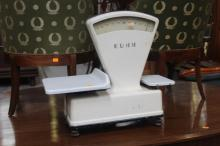 French Kuhn enamel set of scales, approx 56cm H x 60cm W