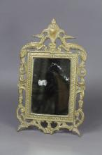 Small antique French bronze boudoir mirror with Salamander, approx 33cm H x 20cm W