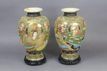 Pair of Satsuma vases, each approx 34cm H (2)