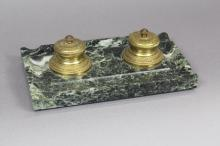 French marble and bronze inkstand, approx 6cm H x 21cm W x 12cm D