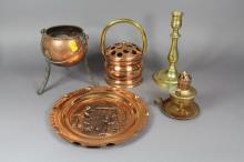 Antique and vintage French copper and brass to include a posy, lamp, jardiniere, cauldron etc (5)