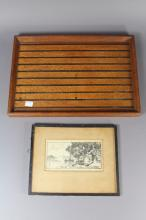 Small silky oak tray and a vintage framed print, approx 40cm L and smaller (2)