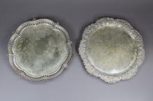 Highly chased silver plate tray along with another silver plate tray, approx 29cm Dia and smaller (2)