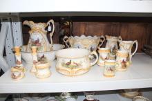 Pheasant patterned porcelain to include wash basin set, candlesticks, chamber pot, bowls, jugs, etc (13)