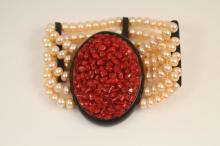 Vintage Art Deco style coral, onyx and pearl bracelet