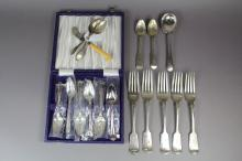 Five antique Georgian Scottish provincial sterling silver tea spoons and a Samuel Pemberton butter knife as well as some plate cutlery, marks include Aberdeen provincial small articles mark WB, Cameron Dundee etc.