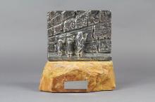 Judaica wailing wall memento on sterling silver, approx 13cm H x 13cm W
