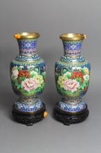 Pair of blue ground cloisonne vases on stands, each approx 30cm H (2)