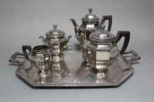 Christofle silver plated four piece tea & coffee set on tray, marks Christofle France 649, tray approx 45cm x 39cm ex handles (5)