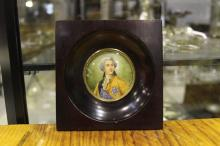 Antique French miniature portrait signed Lucia of King Louis XVI, approx 12cm x 12cm