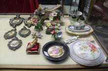 Assortment of estate items to include porcelain, Coalport, Aynsley, pin cushion, etc, approx 14cm Dia and smaller