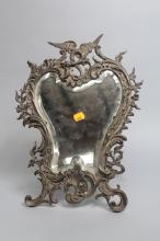 French boudoir mirror with easel back, approx 44cm x 33cm