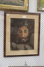 Framed artwork depicting Jesus Christ with crown of thorns, SLL L. Picone, approx 29cm W x 37cm H
