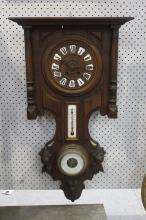 Antique Henri II French clock, barometer and thermometer combination, no key, has pendulum, approx 76 cm H x 43cm W