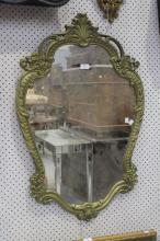 Decorative French style mirror, approx 92cm x 59cm