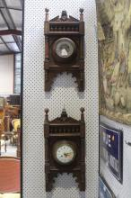 Pair of French barometer & Henri II wooden wall clock, no key, each approx 58cm H x 29cm W