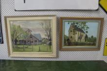 Two framed artworks, studies of houses, oil on canvas panels, approx 49cm x 40cm and smaller (2)