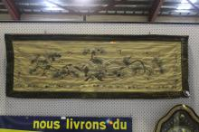 Japanese silk panel, embroidered with eagle, approx 48cm H x 160cm W