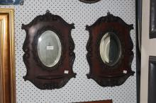 Pair of wooden mirrored wall units with shelves, each approx 45cm x 32cm (2)