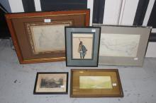 Assortment of artwork to include two sketches, approx 20cm x 22cm & smaller (5)