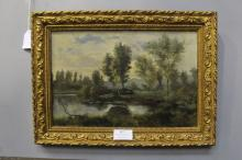 Antique European painting, lake side, approx 20cm x 30cm