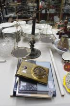 Assortment of items to include scales, an album of cigarette papers, vintage dial pad