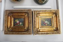 A pair of miniature oils on canvas in gilt style frames, each frame approx 18cm x 19cm