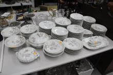 Large French porcelain service, to include tureen, trays, plates, comports & shallow bowls