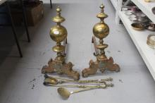 Pair of large Antique French andirons along with a fire tong, iron shovel and sifter (4)